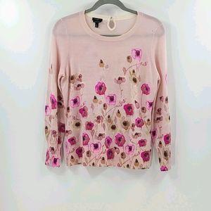 Talbots pure merino wool pink floral sweater